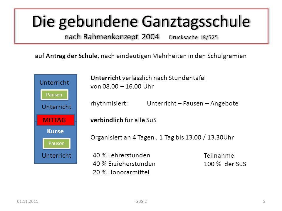 Die gebundene Ganztagsschule nach Rahmenkonzept 2004 Drucksache 18/525 Unterricht verlässlich nach Stundentafel von 08.00 – 16.00 Uhr rhythmisiert: Un
