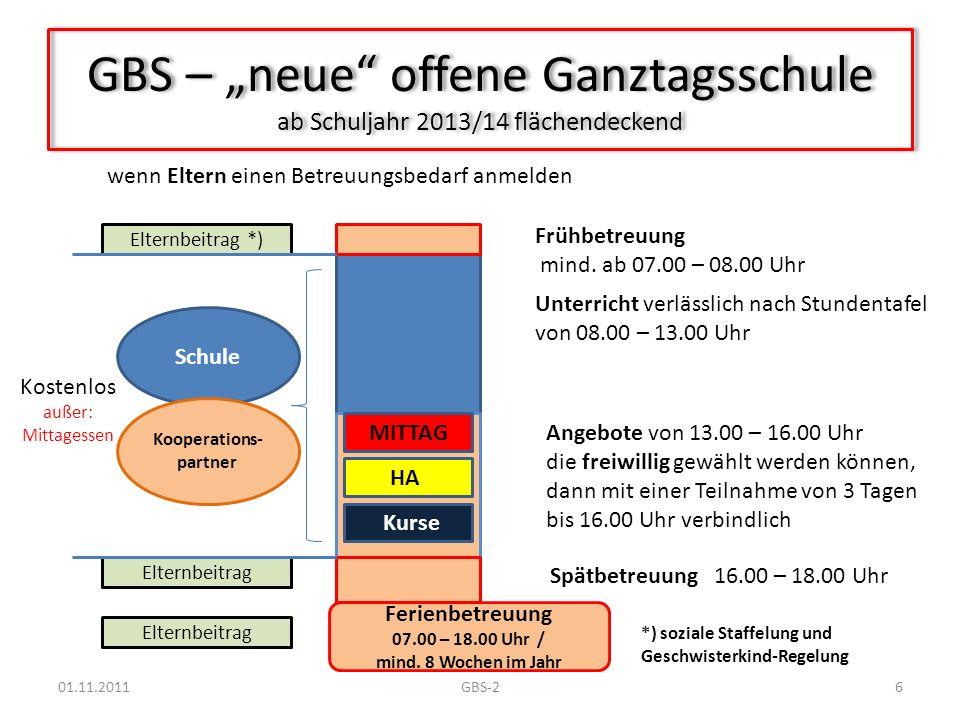 GBS – neue offene Ganztagsschule ab Schuljahr 2013/14 flächendeckend Unterricht verlässlich nach Stundentafel von 08.00 – 13.00 Uhr Angebote von 13.00