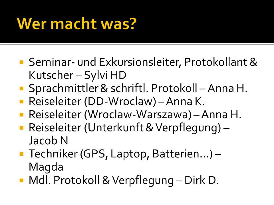 Seminar- und Exkursionsleiter, Protokollant & Kutscher – Sylvi HD Sprachmittler & schriftl. Protokoll – Anna H. Reiseleiter (DD-Wroclaw) – Anna K. Rei
