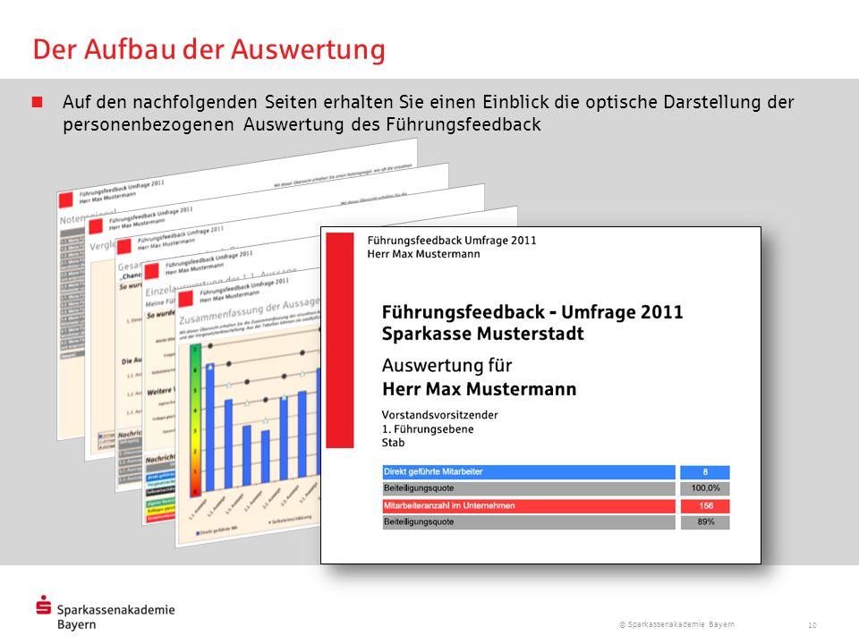 © Sparkassenakademie Bayern 10 Der Aufbau der Auswertung Auf den nachfolgenden Seiten erhalten Sie einen Einblick die optische Darstellung der persone