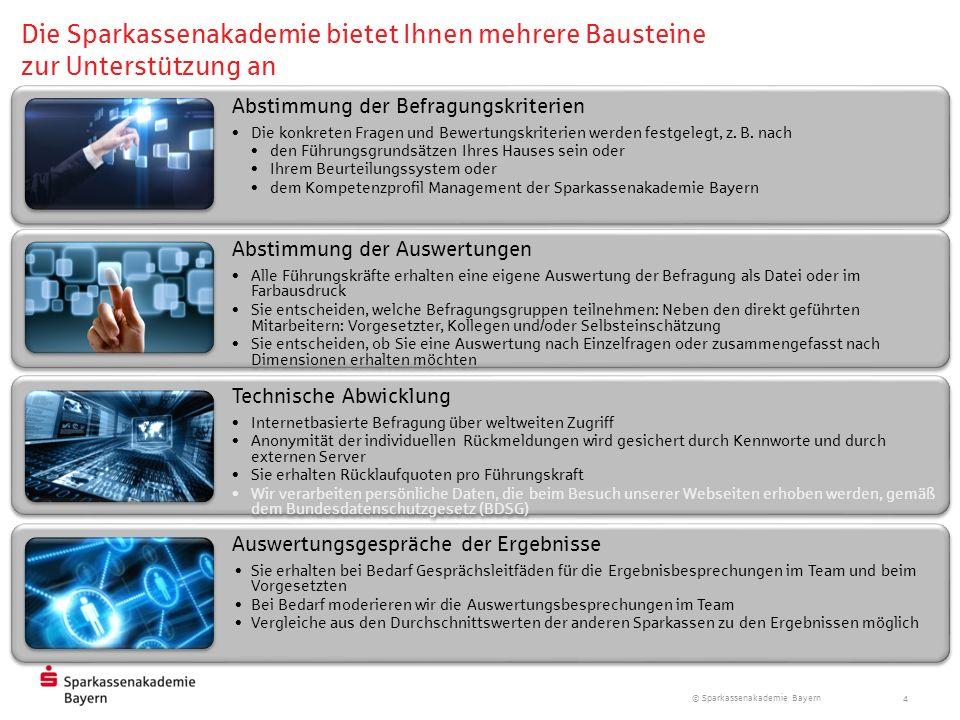 © Sparkassenakademie Bayern 4 Abstimmung der Befragungskriterien Die konkreten Fragen und Bewertungskriterien werden festgelegt, z. B. nach den Führun