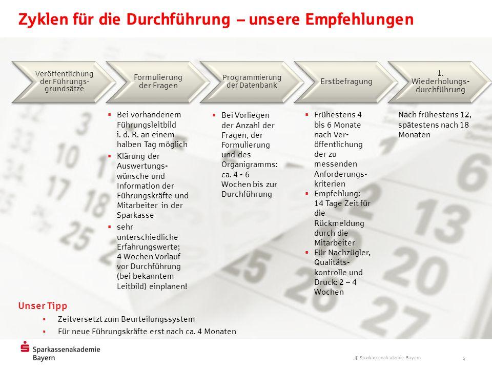 © Sparkassenakademie Bayern 5 Zyklen für die Durchführung – unsere Empfehlungen Veröffentlichung der Führungs- grundsätze Formulierung der Fragen Prog