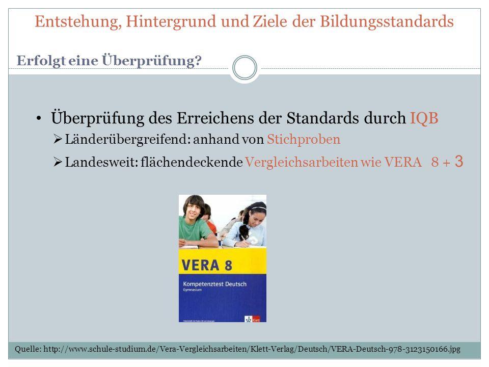 Überprüfung des Erreichens der Standards durch IQB Länderübergreifend: anhand von Stichproben Landesweit: flächendeckende Vergleichsarbeiten wie VERA