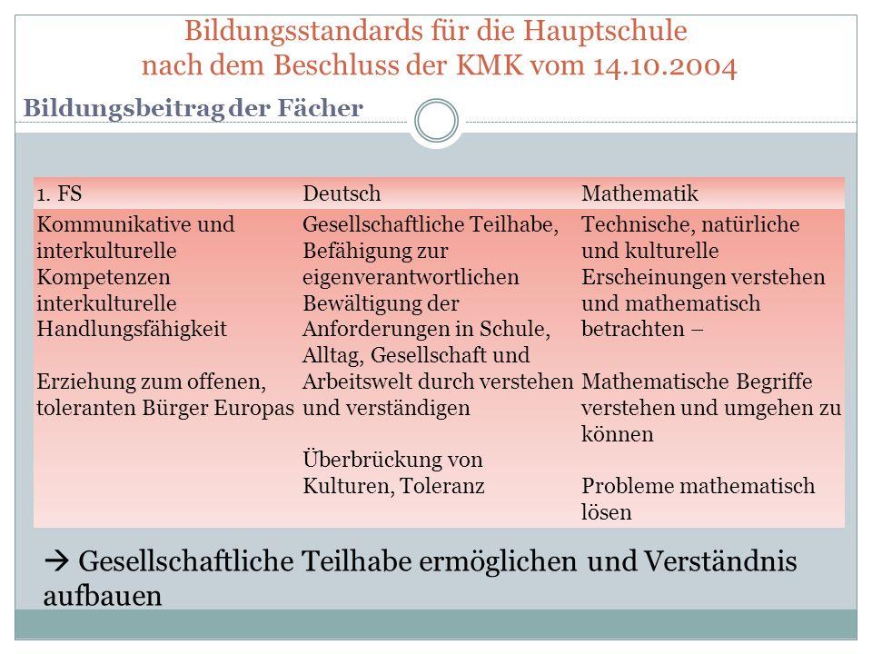 Bildungsstandards für die Hauptschule nach dem Beschluss der KMK vom 14.10.2004 Bildungsbeitrag der Fächer 1. FSDeutschMathematik Kommunikative und in