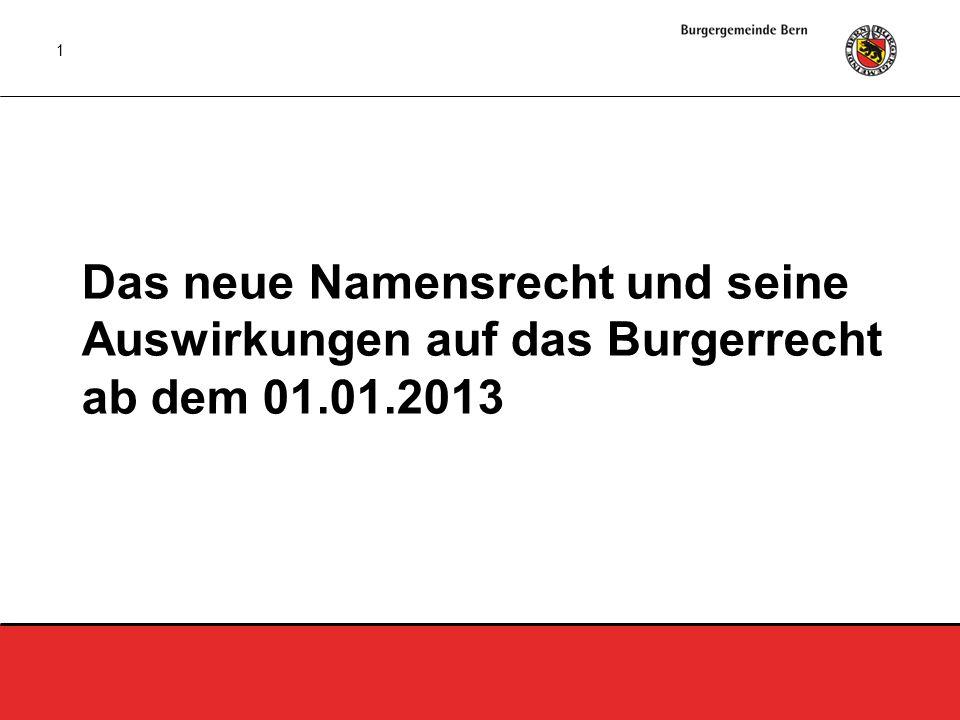 1 Das neue Namensrecht und seine Auswirkungen auf das Burgerrecht ab dem 01.01.2013