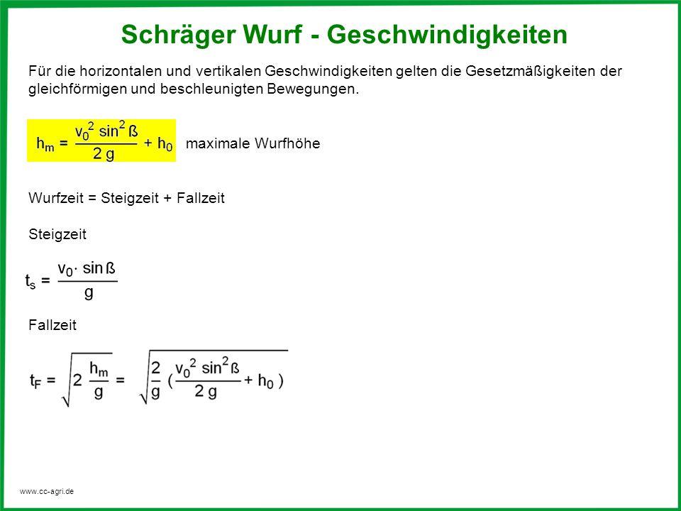 www.cc-agri.de Für die horizontalen und vertikalen Geschwindigkeiten gelten die Gesetzmäßigkeiten der gleichförmigen und beschleunigten Bewegungen. ma