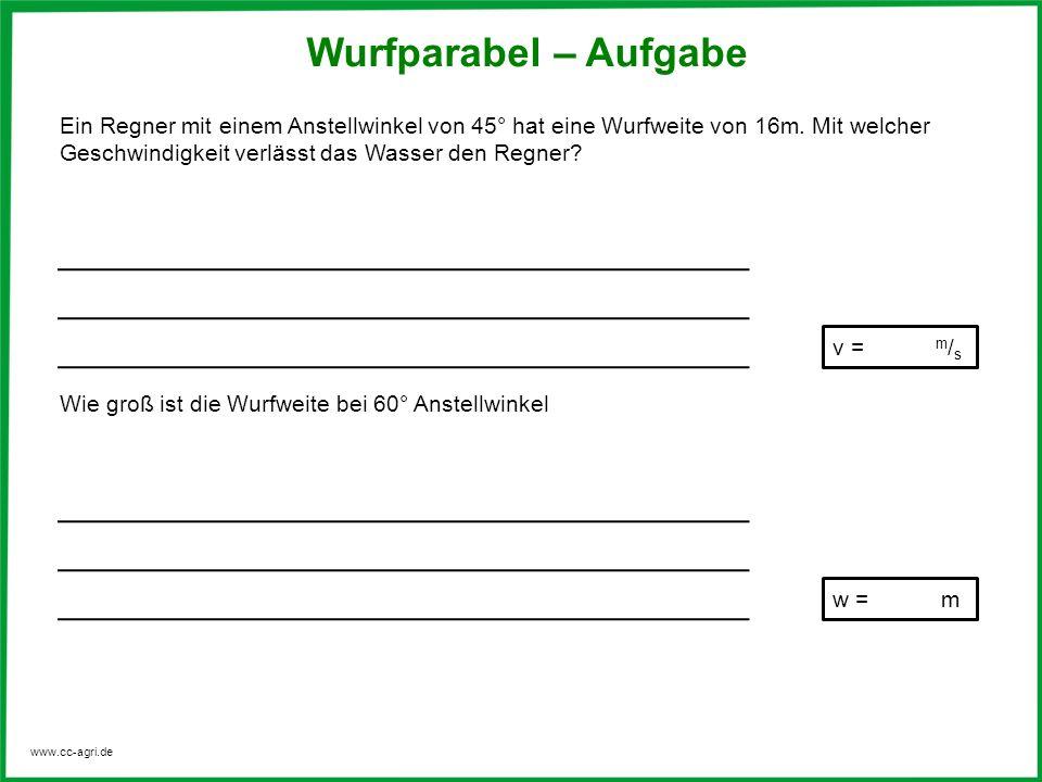 www.cc-agri.de Wurfparabel – Aufgabe Ein Regner mit einem Anstellwinkel von 45° hat eine Wurfweite von 16m. Mit welcher Geschwindigkeit verlässt das W