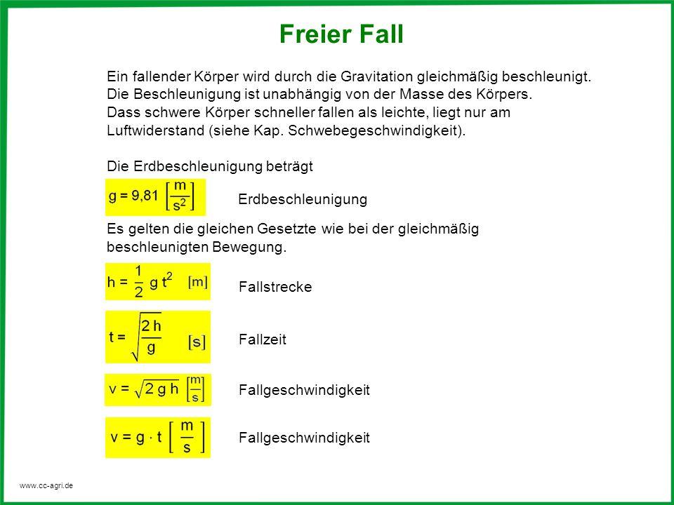 www.cc-agri.de Für eine Fallhöhe von 1m errechnet sich danach eine Fallzeit von t = 1,43 s Fallhöhe: Faktor 10 Fallzeit: Faktor 3,2 t = 0,45 s Für eine Fallhöhe von 10 m ergibt sich Rechenbeispiel