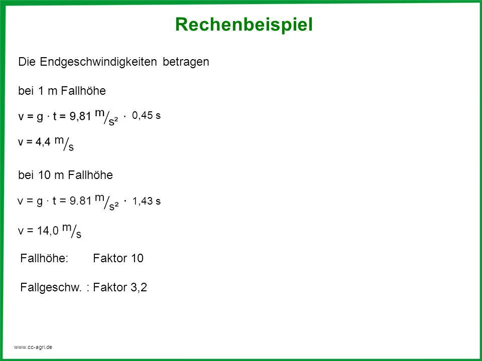 www.cc-agri.de Die Endgeschwindigkeiten betragen bei 1 m Fallhöhe bei 10 m Fallhöhe 1,43 s 0,45 s Fallhöhe: Faktor 10 Fallgeschw. : Faktor 3,2 Rechenb