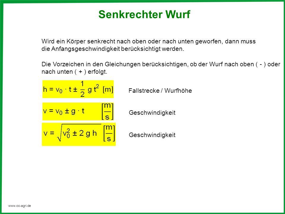 www.cc-agri.de Senkrechter Wurf Anfangsgeschwindigkeit bei vorgegebener Wurfhöhe max.