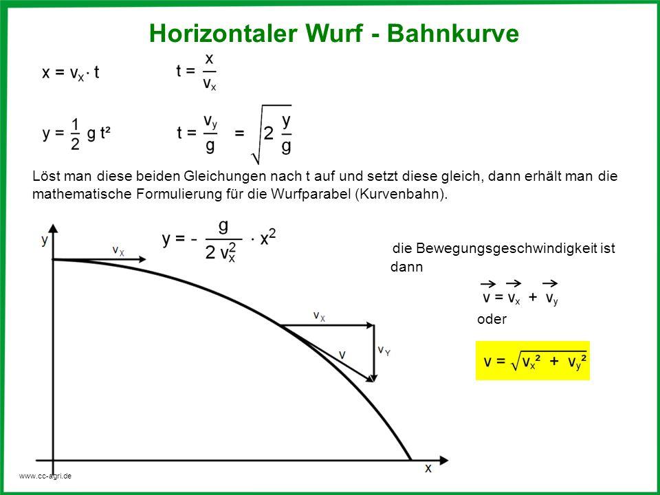 www.cc-agri.de die Bewegungsgeschwindigkeit ist dann oder Löst man diese beiden Gleichungen nach t auf und setzt diese gleich, dann erhält man die mat
