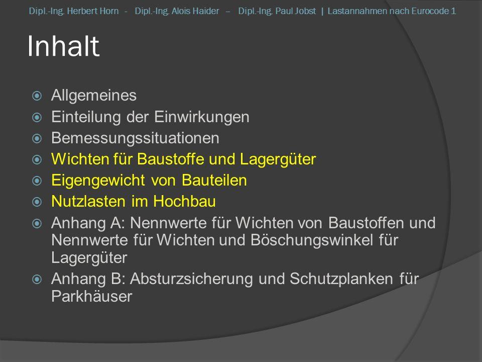 EN 1991-1-1 Nutzlasten & Eigengewichte Nutzlasten im Hochbau Nutzlasten: Zusatzhinweise i.A.