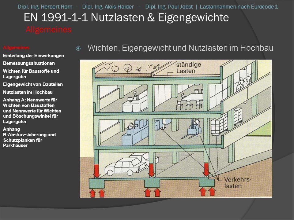 EN 1991-1-1 Nutzlasten & Eigengewichte Einteilung der Einwirkungen Einteilung der Einwirkungen Eigengewicht eines Bauwerkes ständige, ortsfeste Einwirkung bei zeitlicher Veränderbarkeit: oberer und unterer charakt.