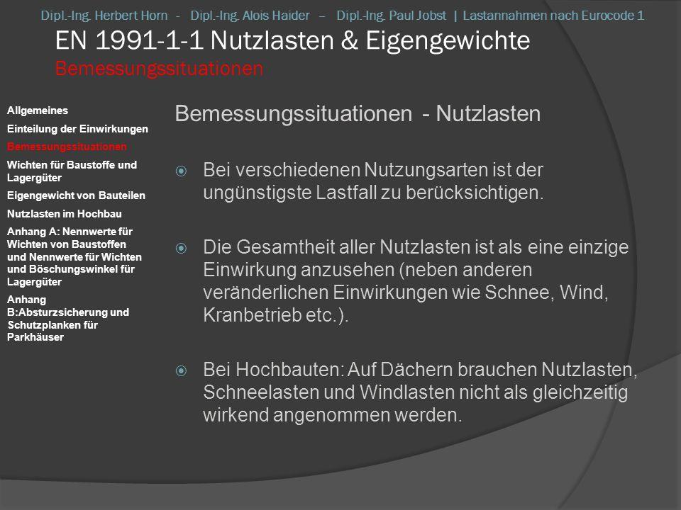 EN 1991-1-1 Nutzlasten & Eigengewichte Wichten für Baustoffe und Lagergüter Wichten für Baustoffe und Lagergüter Charakteristische Werte -> Mittelwerte Bei neuartigen Stoffen mit erheblicher Streuung (z.B.