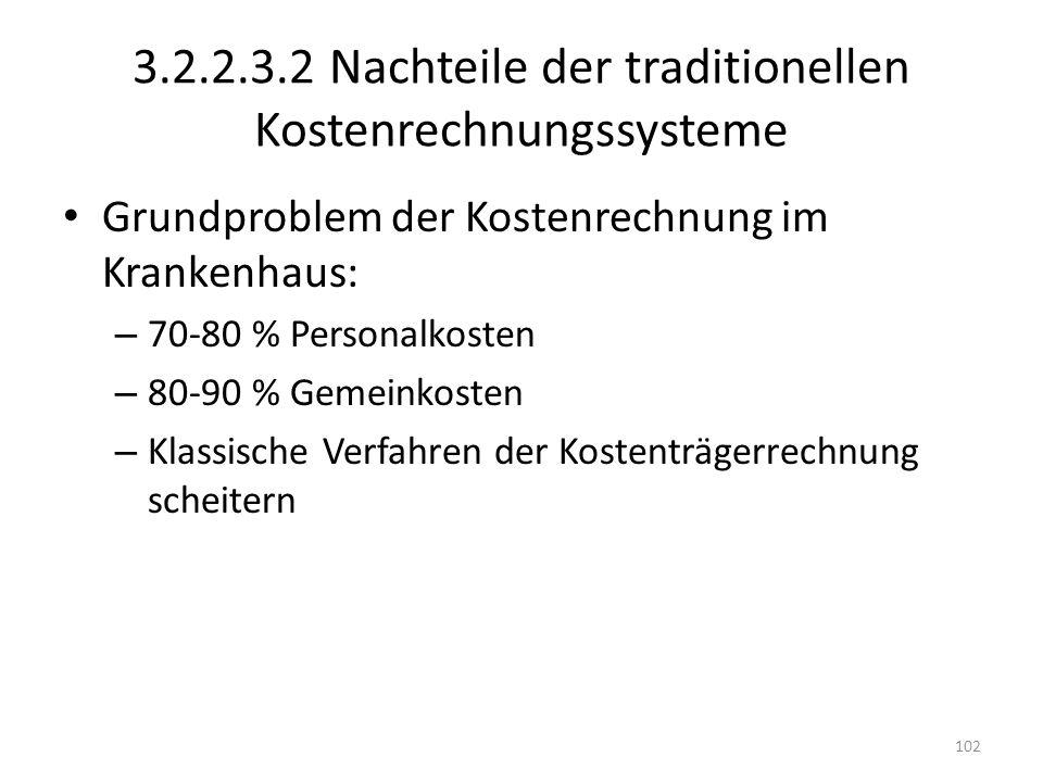 3.2.2.3.2 Nachteile der traditionellen Kostenrechnungssysteme Grundproblem der Kostenrechnung im Krankenhaus: – 70-80 % Personalkosten – 80-90 % Gemei