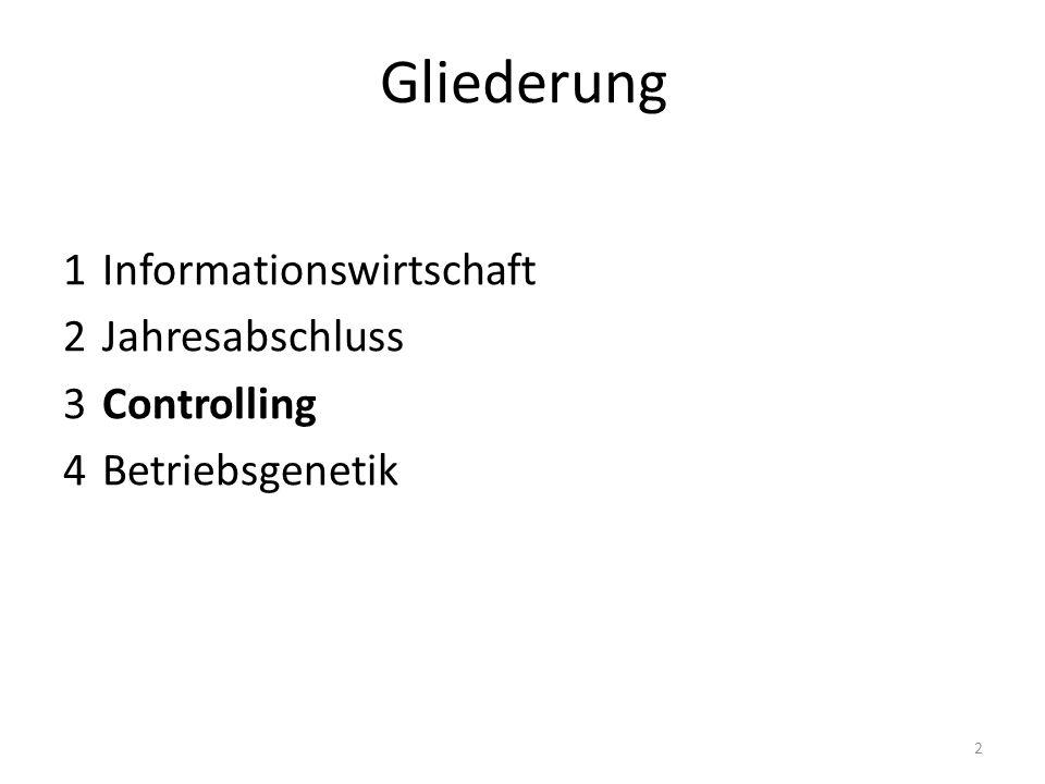 Gliederung 1 Informationswirtschaft 2 Jahresabschluss 3 Controlling 4 Betriebsgenetik 2