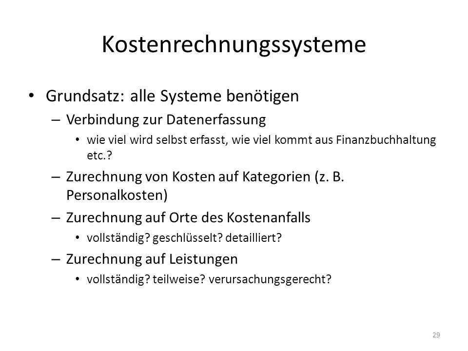 Kostenrechnungssysteme Grundsatz: alle Systeme benötigen – Verbindung zur Datenerfassung wie viel wird selbst erfasst, wie viel kommt aus Finanzbuchha