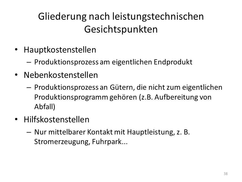 Gliederung nach leistungstechnischen Gesichtspunkten Hauptkostenstellen – Produktionsprozess am eigentlichen Endprodukt Nebenkostenstellen – Produktio