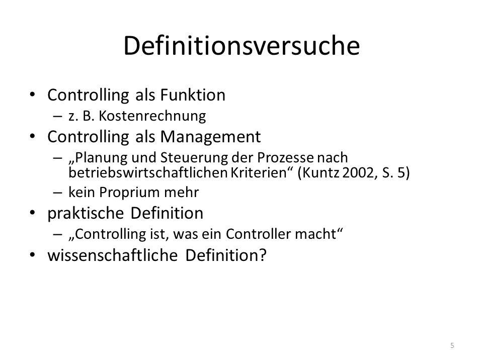 Definitionsversuche Controlling als Funktion – z. B. Kostenrechnung Controlling als Management – Planung und Steuerung der Prozesse nach betriebswirts