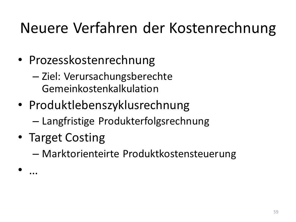 Neuere Verfahren der Kostenrechnung Prozesskostenrechnung – Ziel: Verursachungsberechte Gemeinkostenkalkulation Produktlebenszyklusrechnung – Langfris