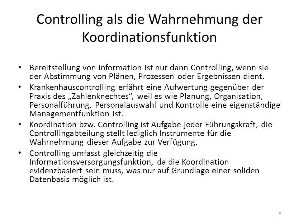 Controlling als die Wahrnehmung der Koordinationsfunktion Bereitstellung von Information ist nur dann Controlling, wenn sie der Abstimmung von Plänen,