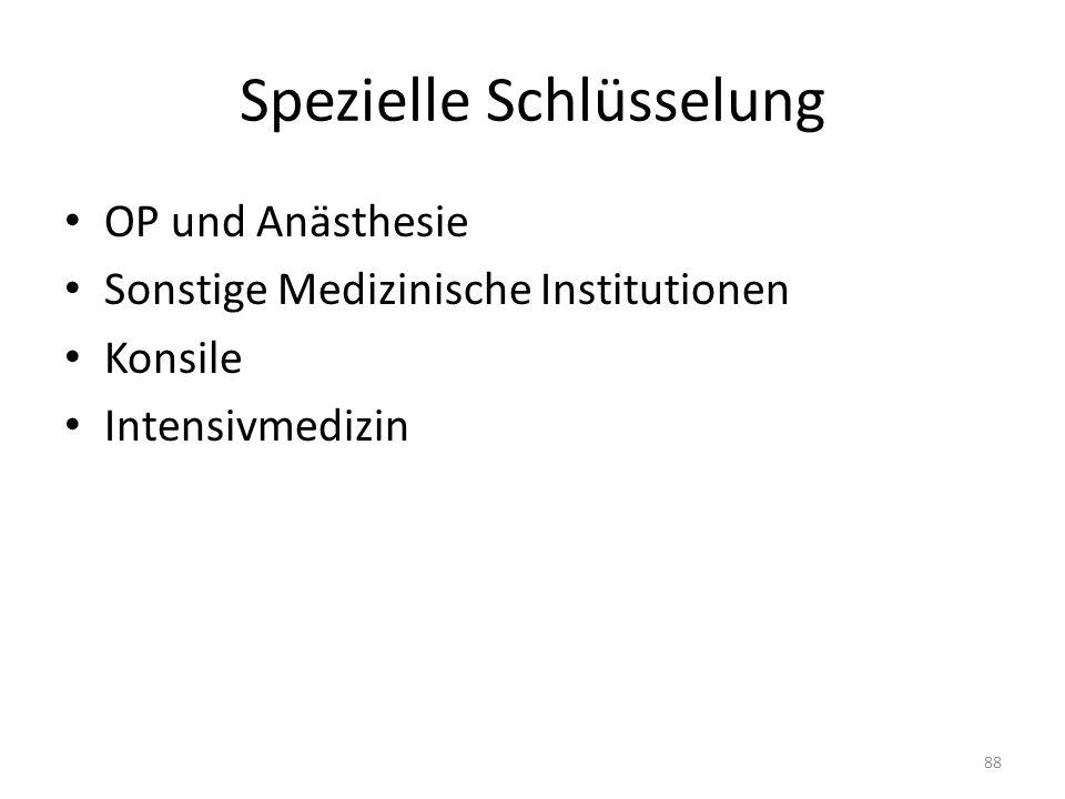 Spezielle Schlüsselung OP und Anästhesie Sonstige Medizinische Institutionen Konsile Intensivmedizin 88