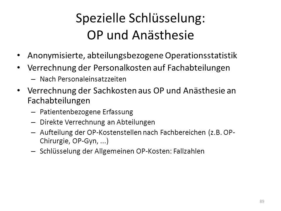 Spezielle Schlüsselung: OP und Anästhesie Anonymisierte, abteilungsbezogene Operationsstatistik Verrechnung der Personalkosten auf Fachabteilungen – N