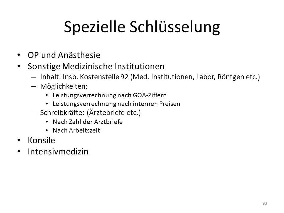 Spezielle Schlüsselung OP und Anästhesie Sonstige Medizinische Institutionen – Inhalt: Insb. Kostenstelle 92 (Med. Institutionen, Labor, Röntgen etc.)