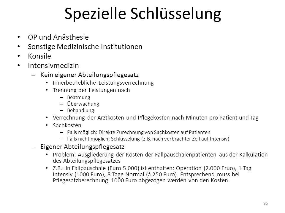 Spezielle Schlüsselung OP und Anästhesie Sonstige Medizinische Institutionen Konsile Intensivmedizin – Kein eigener Abteilungspflegesatz Innerbetriebl