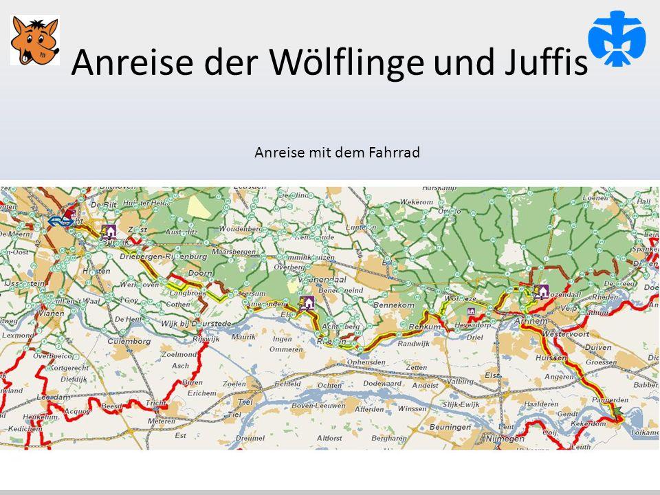 Anreise der Wölflinge und Juffis Anreise mit dem Fahrrad