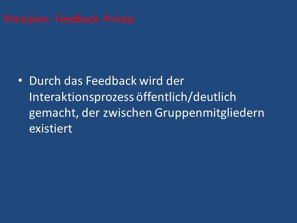 Durch das Feedback wird der Interaktionsprozess öffentlich/deutlich gemacht, der zwischen Gruppenmitgliedern existiert Prinzipien: Feedback Prinzip