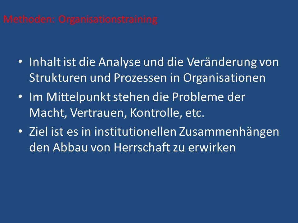 Inhalt ist die Analyse und die Veränderung von Strukturen und Prozessen in Organisationen Im Mittelpunkt stehen die Probleme der Macht, Vertrauen, Kontrolle, etc.
