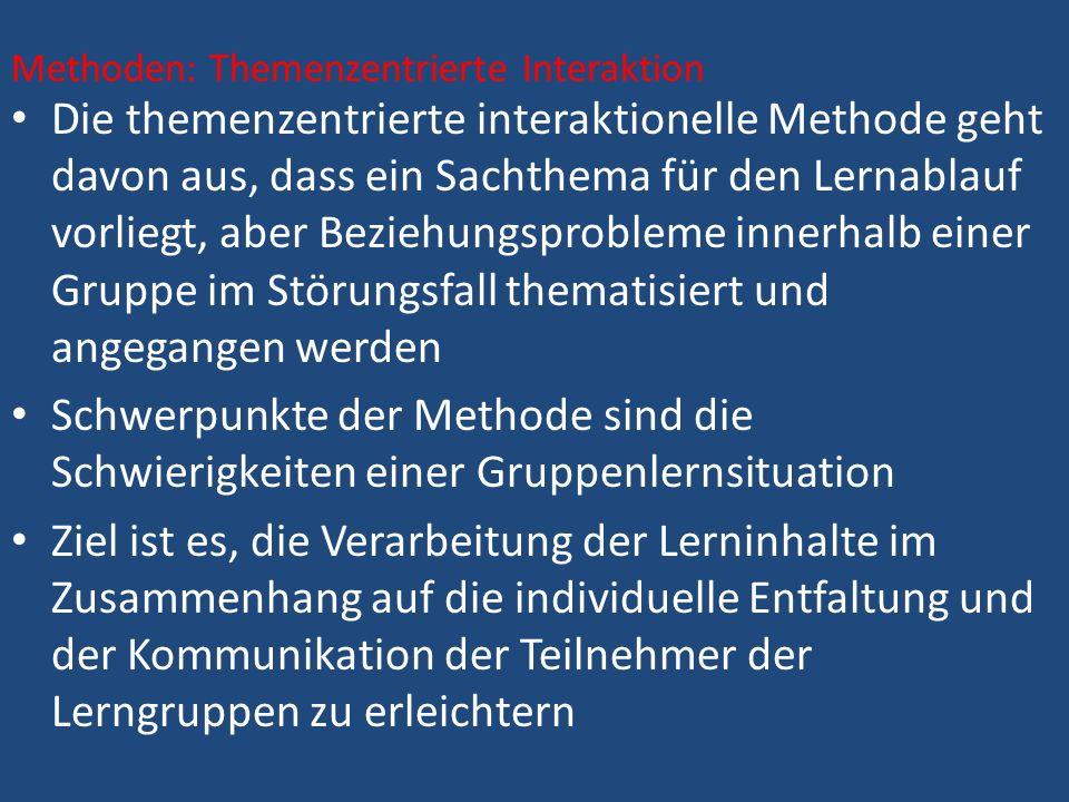 Die themenzentrierte interaktionelle Methode geht davon aus, dass ein Sachthema für den Lernablauf vorliegt, aber Beziehungsprobleme innerhalb einer G