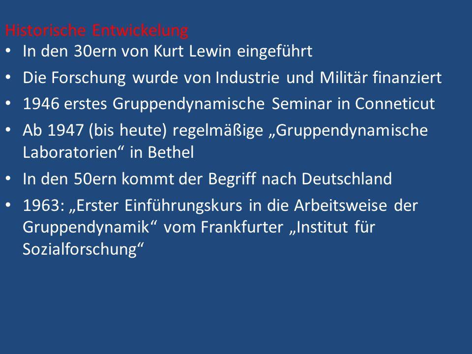 In den 30ern von Kurt Lewin eingeführt Die Forschung wurde von Industrie und Militär finanziert 1946 erstes Gruppendynamische Seminar in Conneticut Ab 1947 (bis heute) regelmäßige Gruppendynamische Laboratorien in Bethel In den 50ern kommt der Begriff nach Deutschland 1963: Erster Einführungskurs in die Arbeitsweise der Gruppendynamik vom Frankfurter Institut für Sozialforschung Historische Entwickelung
