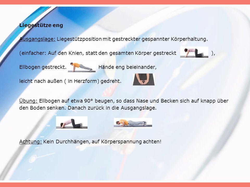 Liegestütze eng Ausgangslage: Liegestützposition mit gestreckter gespannter Körperhaltung.