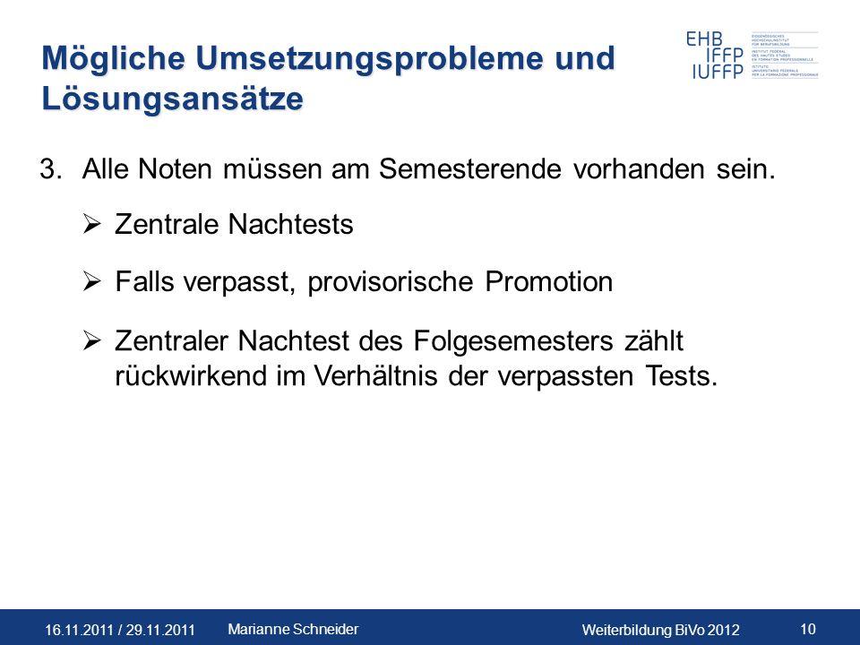 16.11.2011 / 29.11.2011Weiterbildung BiVo 2012 10Marianne Schneider Mögliche Umsetzungsprobleme und Lösungsansätze 3.Alle Noten müssen am Semesterende