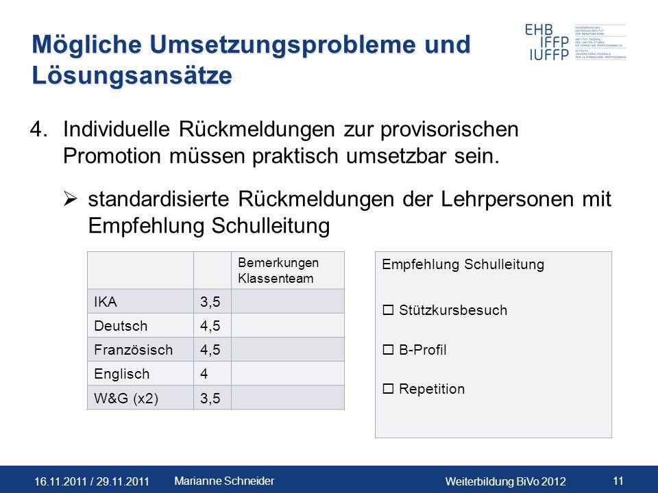 16.11.2011 / 29.11.2011Weiterbildung BiVo 2012 11Marianne Schneider Mögliche Umsetzungsprobleme und Lösungsansätze 4.Individuelle Rückmeldungen zur pr