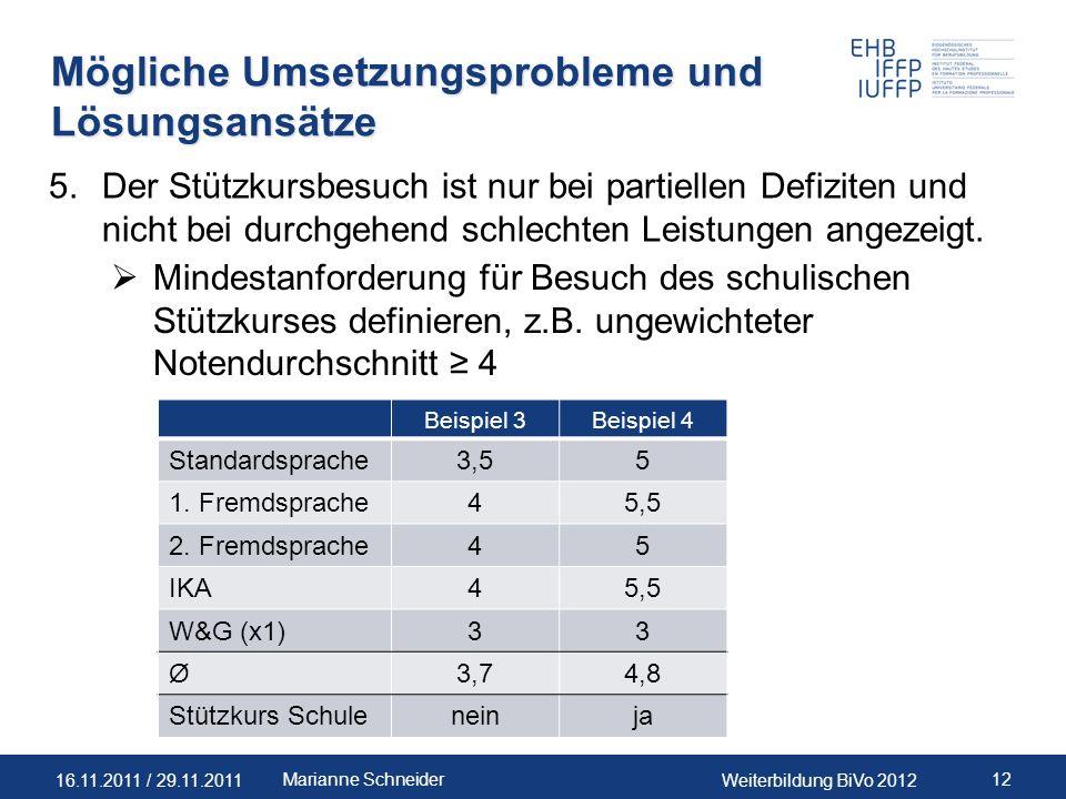 16.11.2011 / 29.11.2011Weiterbildung BiVo 2012 12Marianne Schneider Mögliche Umsetzungsprobleme und Lösungsansätze 5.Der Stützkursbesuch ist nur bei p