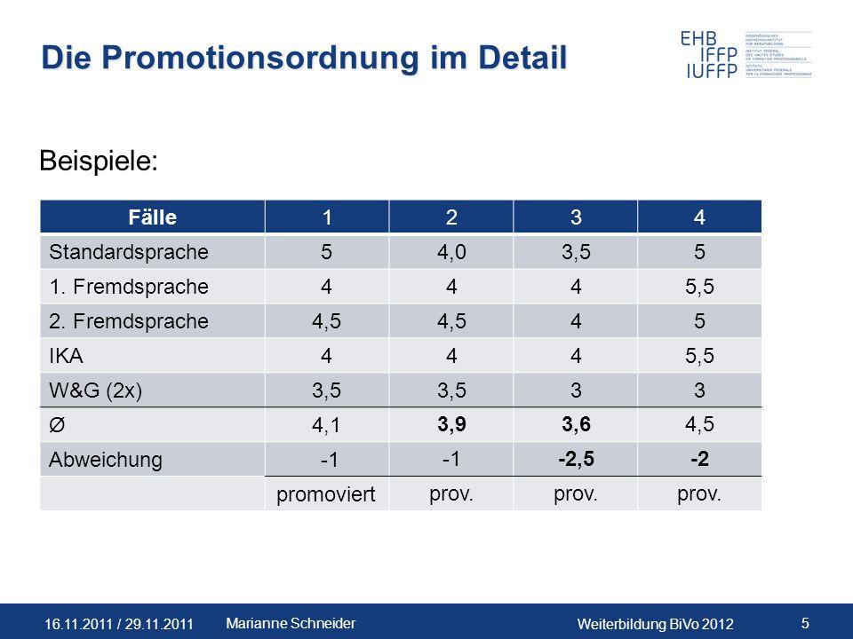 16.11.2011 / 29.11.2011Weiterbildung BiVo 2012 5Marianne Schneider Die Promotionsordnung im Detail Beispiele: Fälle 1234 Standardsprache5 4,03,55 1. F