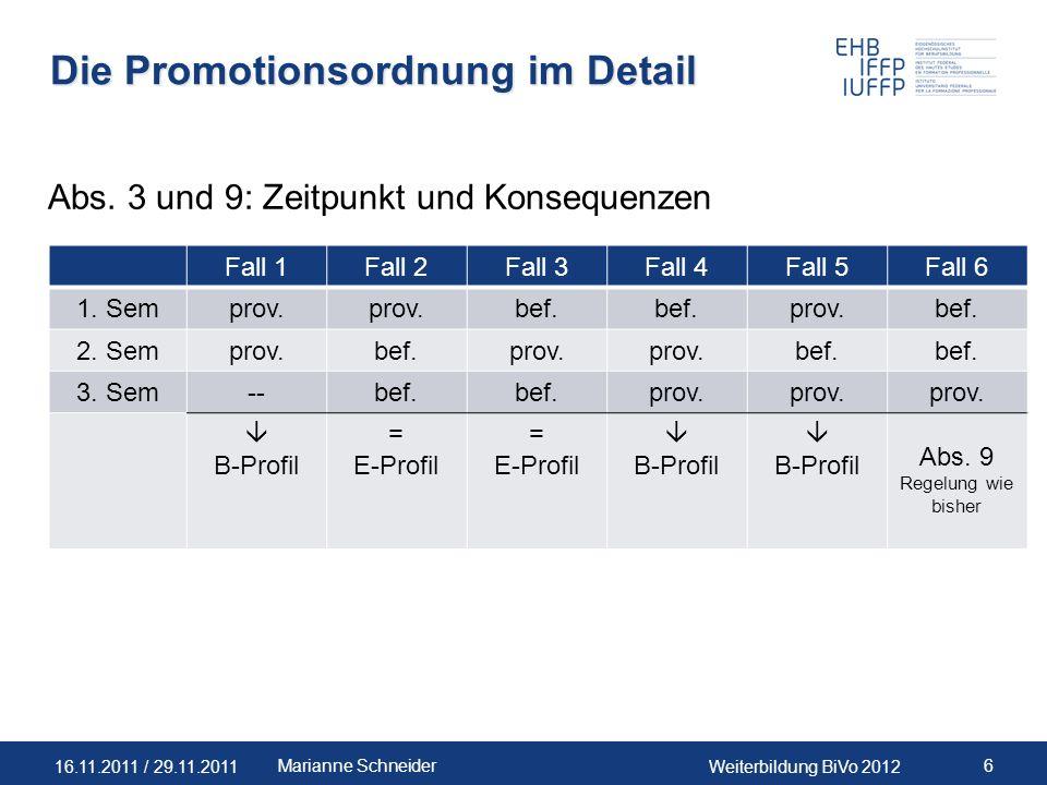 16.11.2011 / 29.11.2011Weiterbildung BiVo 2012 6Marianne Schneider Die Promotionsordnung im Detail Abs. 3 und 9: Zeitpunkt und Konsequenzen Fall 1Fall