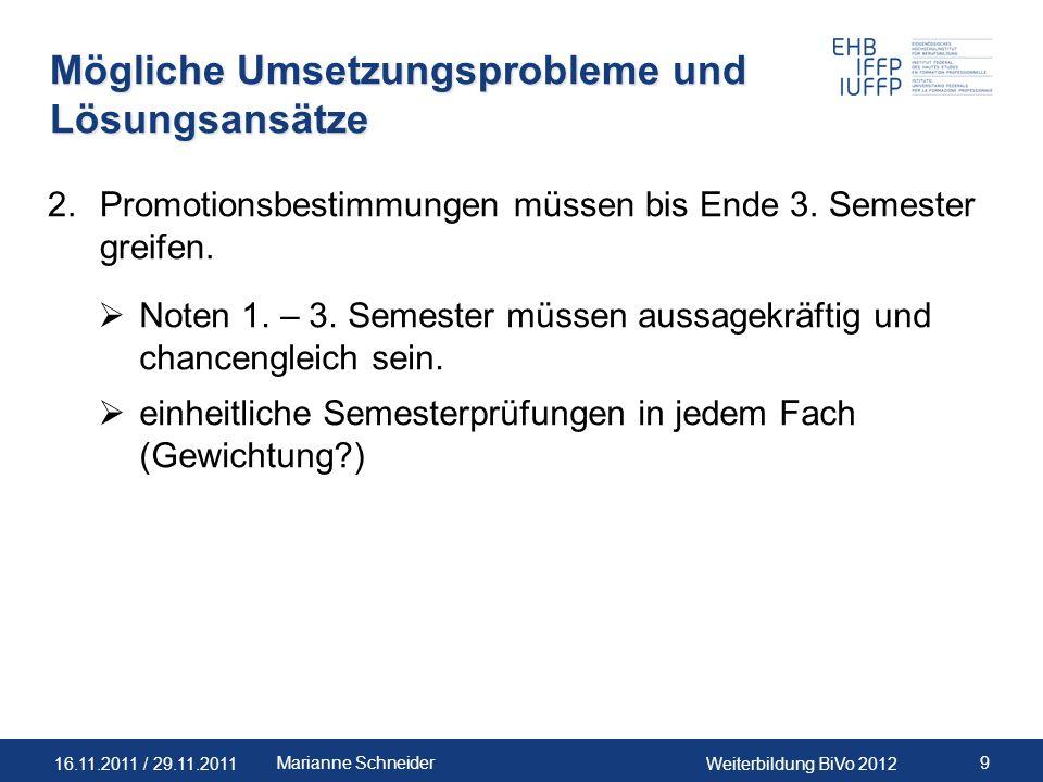 16.11.2011 / 29.11.2011Weiterbildung BiVo 2012 9Marianne Schneider Mögliche Umsetzungsprobleme und Lösungsansätze 2.Promotionsbestimmungen müssen bis