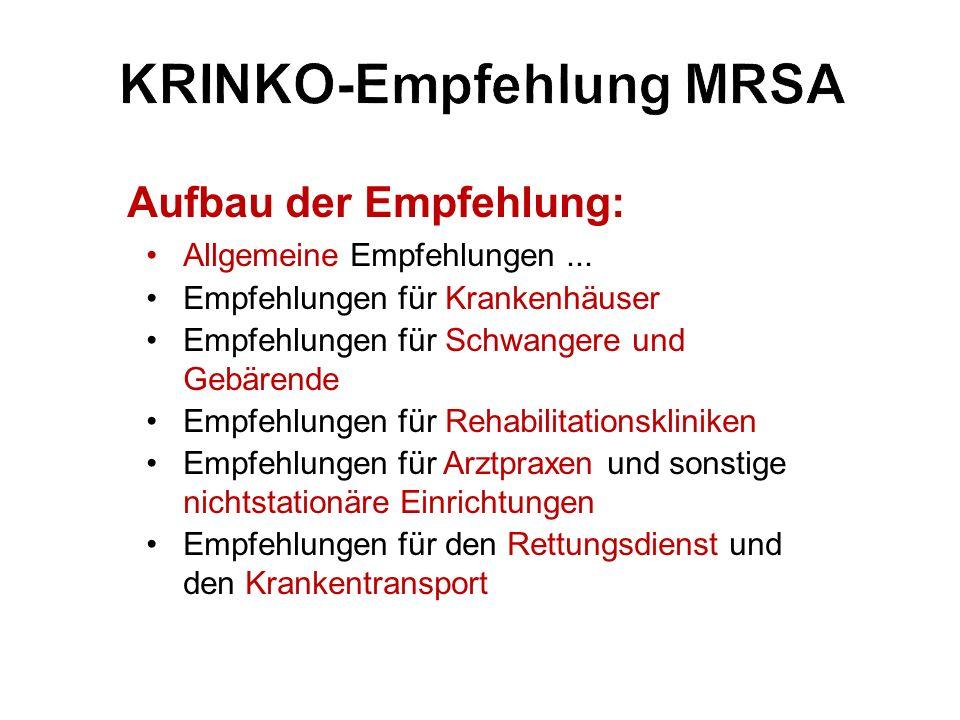 KRINKO-Empfehlung MRSA Aufbau der Empfehlung: Allgemeine Empfehlungen... Empfehlungen für Krankenhäuser Empfehlungen für Schwangere und Gebärende Empf