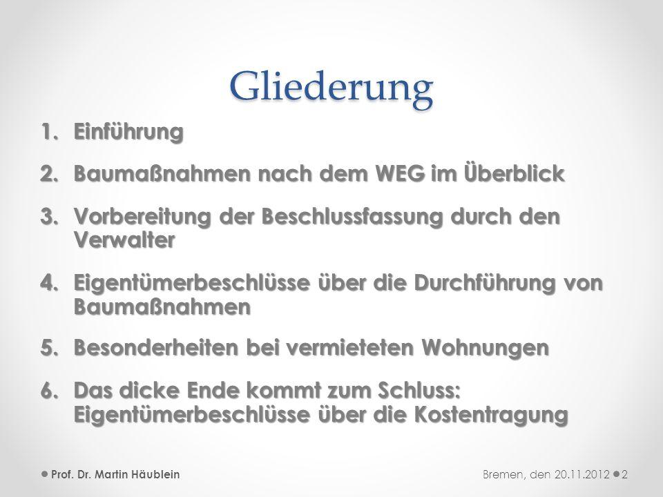 Folgekosten baulicher Maßnahmen im Sonderinteresse – LG Itzehoe v.