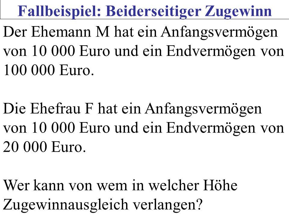 Fallbeispiel: Beiderseitiger Zugewinn Der Ehemann M hat ein Anfangsvermögen von 10 000 Euro und ein Endvermögen von 100 000 Euro. Die Ehefrau F hat ei