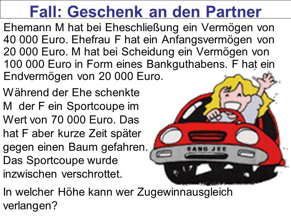 Ehemann M hat bei Eheschließung ein Vermögen von 40 000 Euro. Ehefrau F hat ein Anfangsvermögen von 20 000 Euro. M hat bei Scheidung ein Vermögen von