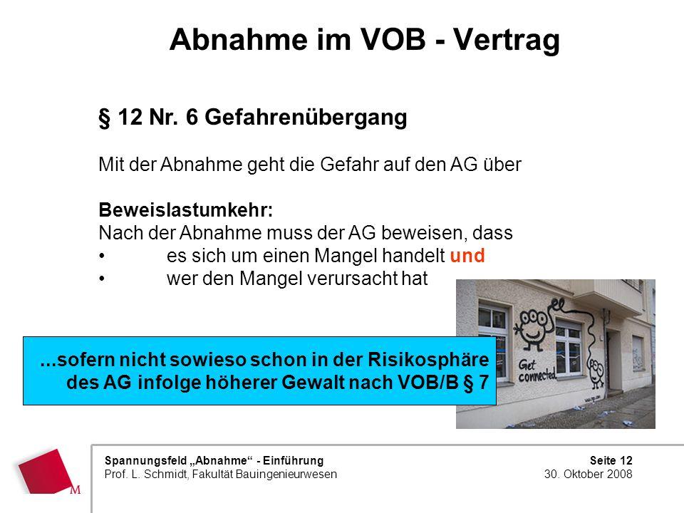Seite 12 30. Oktober 2008 Spannungsfeld Abnahme - Einführung Prof. L. Schmidt, Fakultät Bauingenieurwesen Abnahme im VOB - Vertrag § 12 Nr. 6 Gefahren