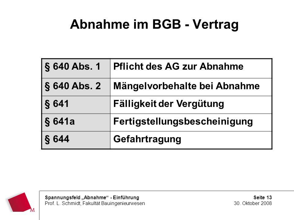 Seite 13 30. Oktober 2008 Spannungsfeld Abnahme - Einführung Prof. L. Schmidt, Fakultät Bauingenieurwesen Abnahme im BGB - Vertrag § 640 Abs. 1Pflicht