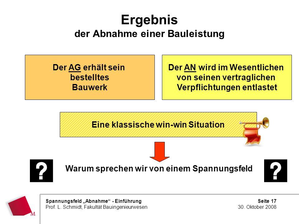 Seite 17 30. Oktober 2008 Spannungsfeld Abnahme - Einführung Prof. L. Schmidt, Fakultät Bauingenieurwesen Ergebnis der Abnahme einer Bauleistung Warum