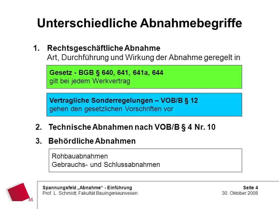 Seite 4 30. Oktober 2008 Spannungsfeld Abnahme - Einführung Prof. L. Schmidt, Fakultät Bauingenieurwesen Unterschiedliche Abnahmebegriffe 1.Rechtsgesc