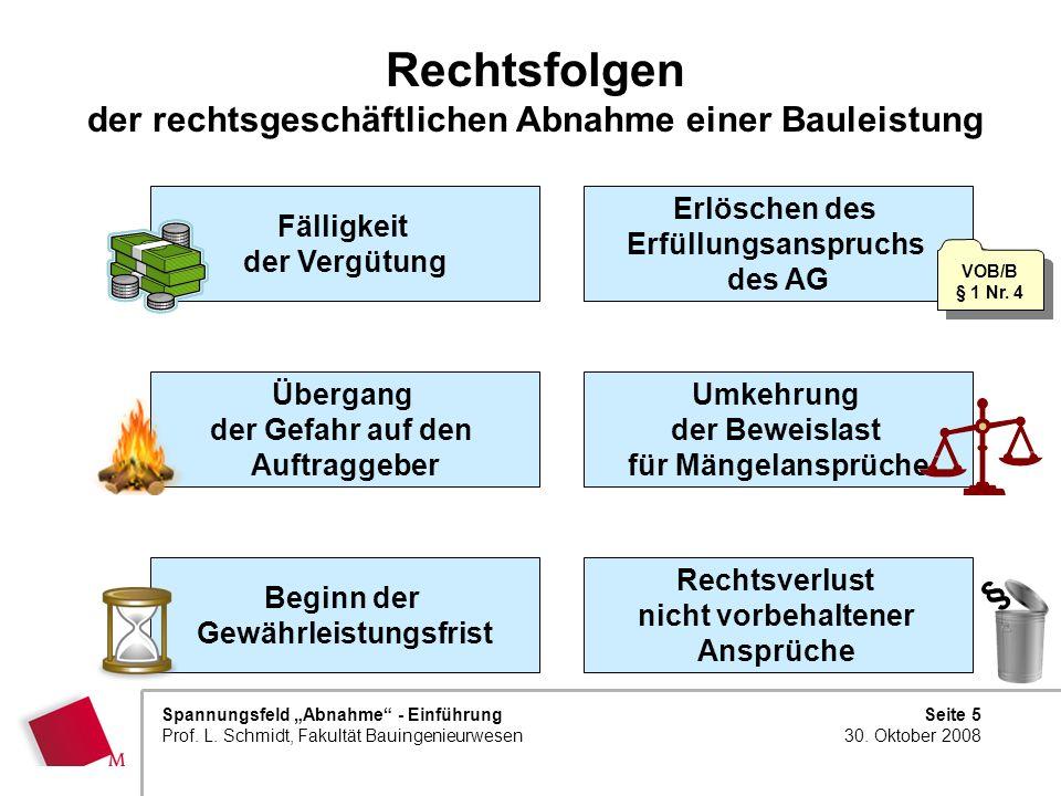 Seite 5 30. Oktober 2008 Spannungsfeld Abnahme - Einführung Prof. L. Schmidt, Fakultät Bauingenieurwesen Rechtsfolgen der rechtsgeschäftlichen Abnahme